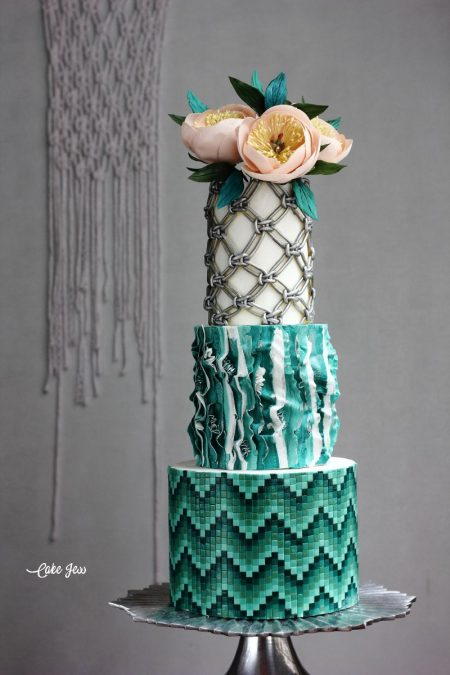 Teal Boho Glam Wedding Cake