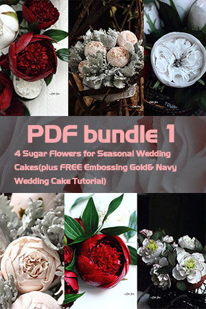 PDF Bundle 1= 4 Sugar Flowers for Seasonal Wedding Cakes(plus FREE Embossing Gold& Navy Wedding Cake Tutorial)