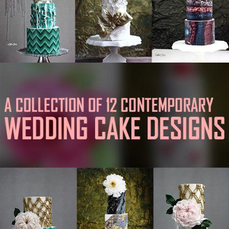 A collection of 12 contemporary wedding cake designs